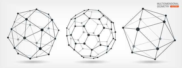 Complex geometric shapes. Abstract geometric background. A series of papers. Wireframe mesh polygonal element. Cybernetics and technology.