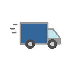 Fast shipping delivery truck flat icon simple flat outline sign for apps and websites