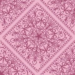 Template Print for Fabric. Pattern of Mandala with Border. Vector illustration. Seamless. For Print Bandana, fashion design