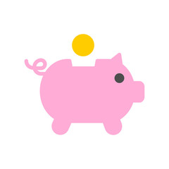 Pig piggy bank with coins vector illustration in flat style