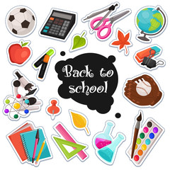 School stickers collection. Vector illustration of education objects stamps isolated on white background. Back to school