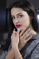 Closeup Portrait Of Beautiful Elegant Woman With Perfect Bright Makeup Showing Blue Manicure Nails