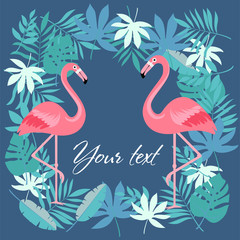 Cartoon flamingo bird. vector illustration. frame