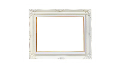Antique white photo frame with empty space for your picture or text isolated on white background.