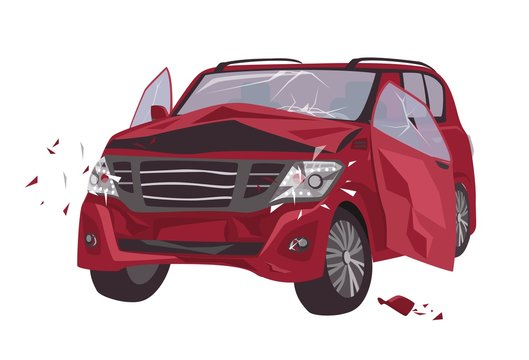 Automobile damaged by collision isolated on white background. Wrecked or crashed auto. Result of traffic or motor vehicle accident or car crash. Colorful vector illustration in flat cartoon style.