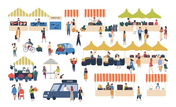 Seasonal outdoor street market. People walking between counters, buying vegetables, fruits, meat and other farmer products. Buyers and sellers on marketplace. Cartoon colorful vector illustration.