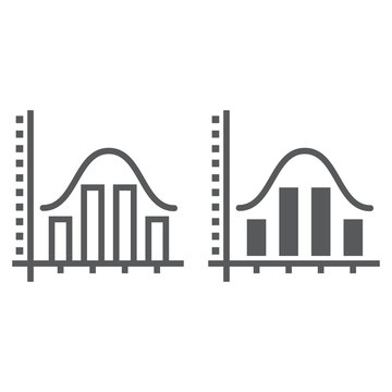 Average line and glyph icon, data and analytics, graph sign, vector graphics, a linear pattern on a white background, eps 10.