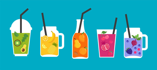 Collection of different colorful smoothies, fruit shakes in a bottles, glass, mason jars