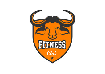 Head of Bull, buffalo, Fitness, crossfit, gym emblems, label, badge, logo and element