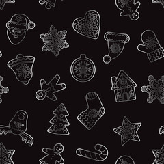 Christmas and New Year silver outline seamless pattern