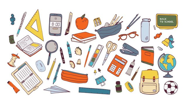 Collection of school supplies or stationery. Bundle of accessories for lessons, items for education of smart pupils and students isolated on white background. Colorful hand drawn vector illustration.