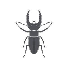 Monochrome emblem of deer beetle. isolated vector illustration
