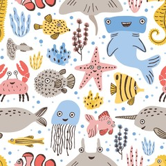 Seamless pattern with cute funny marine animals or underwater creatures on white background. Backdrop with happy sea and ocean dwellers. Childish flat cartoon vector illustration for textile print.