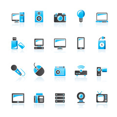 Technology and multimedia devices icons - vector icon set