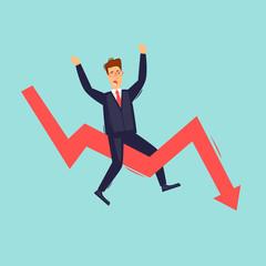 Businessman sitting on the arrow, falling. Flat design vector illustration.