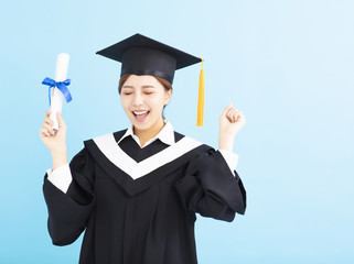 happy graduate student holding diploma isolated