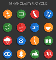 skiing 16 flat icons