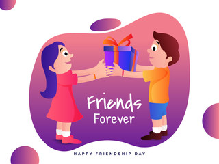 Happy Friendship Day concept with illustration of a friendship bond between father and daughter, back hug and happiness concept.