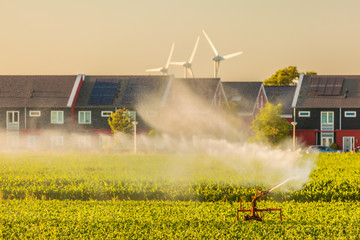 Irrigation sprinkler on farmland in front of Dutch houses