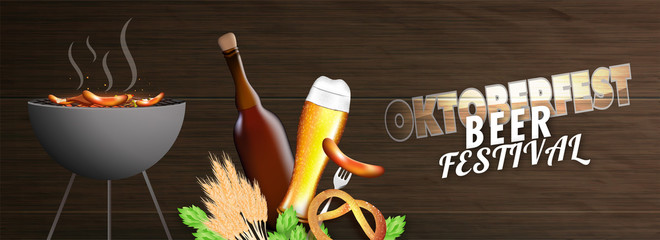 Beer festival concept, illustration of hot barbecue, wheat grains, cocktail glass, bottle, sausage, pretzels and hops on shiny brown wooden texture background for Oktoberfest.