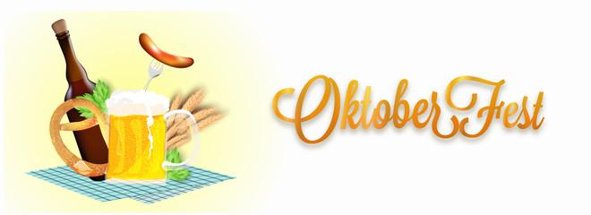 Website header or banner design with beer mug, bottle, sausage, fork, pretzel, hops, wheat grain on napkin for Oktoberfest celebration concept.