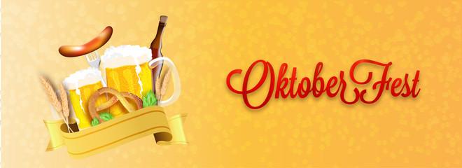 Website header or banner design, Illustration of wheat grain, beer mugs, bottle, sausage with fork, pretzel and hops on shiny orange bubble background for Oktoberfest celebration concept.