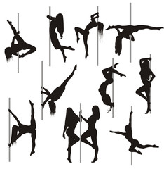 Pole dance vector set