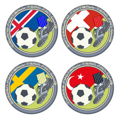 Soccer Fan Logo vol.3. Vector illustration of a color logo for football fans of teams from Iceland, Switzerland, Sweden and Turkey.