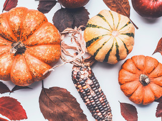 Pumpkin, colorful corn and dried leaves, top view. Autumn concept