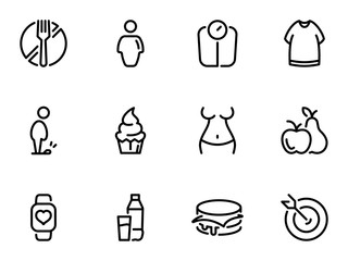 Set of black vector icons, isolated on white background, on theme The problem of obesity, weight loss and temptations