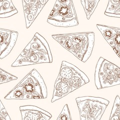 Seamless pattern with slices of delicious traditional Italian pizza hand drawn with contour lines on light background. Realistic vector illustration for textile print, wrapping paper, backdrop.