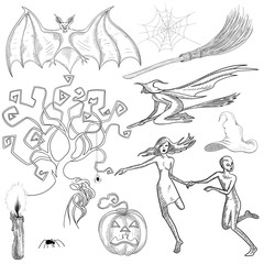 Set of hand-drawn Halloween sketches isolated on white.