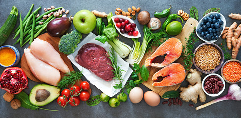 Tuinposter Eten Balanced diet food background