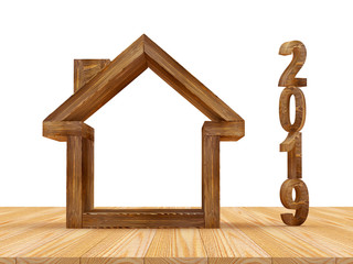 Real estate concept. Wooden house icon with number 2019. 3D illustration