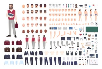 Male teacher constructor or DIY kit. Collection of teaching professor's body parts, hand gestures, clothing isolated on white background. Front, side and back views. Cartoon vector illustration.