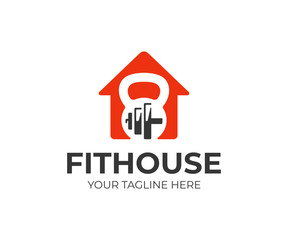 Health and fitness center logo template. Fitness house vector design. House with kettlebell and dumbbell logotype