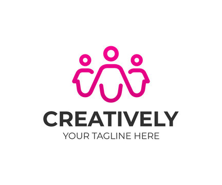 Group of people logo design. Creative people vector design. Happy family logotype