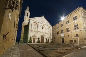 Fotomurales - cathedral in Medieval Town Pienza, Tuscany, Italy.