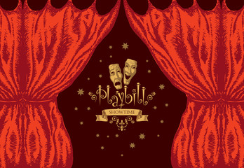 Vector playbill with red theater curtain and theater masks in retro style. Hand-drawn illustration on the theme of modern theatrical art