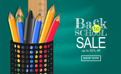 Back to School sale Banner with pencil case