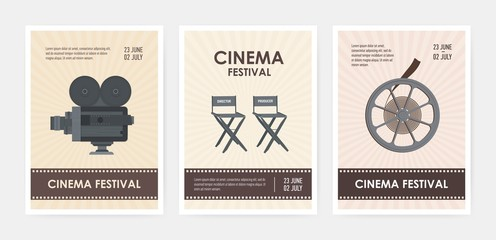 Bundle of vertical flyer or poster templates with retro camera, director and producer chairs, film reel and place for text. Colorful flat vector illustration for cinema festival advertisement, promo.