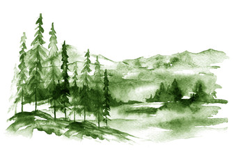 Watercolor forest landscape, green Background for your design. With vintage drawings snow tops, mountains, pine forest, pine, fir, cedar, fir. Forest, wilderness, suburban landscape.Art illustration.