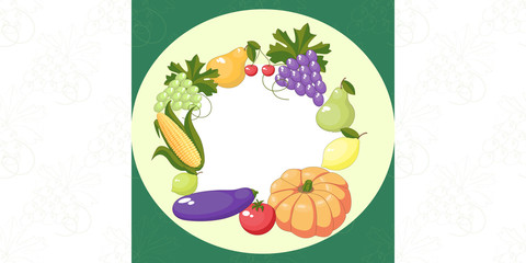 A pattern of fruits and vegetables. A set. Vector illustration.