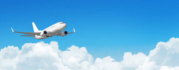 Printed kitchen splashbacks Airplane Passenger aircraft cloudscape with white airplane is flying in the daytime sky cumulus clouds, panorama view.