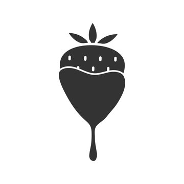 Chocolate covered strawberry glyph icon