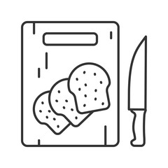 Wooden cutting board with sliced bread linear icon