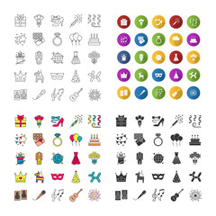 Holiday accessories icons set