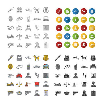 Police force icons set