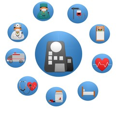 Health Heart Care Concept Medical Icons Signs Isolated on White Background.Medical infographics. Health and Medical Care Illustration. Medical concept with elements