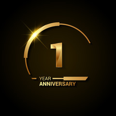 1 Years Anniversary Celebration Logotype. Golden Elegant Vector Illustration with Half Circle, Isolated on Black Background can be use for Celebration, Invitation, and Greeting card